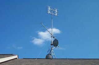 VHF antenna below / UHF above (unused dishes)